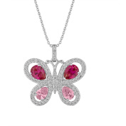 Gemspirations Sterling Silver-Plated Simulated Blue Topaz and Simulated Opal with CZ Accents Dragonfly Pendant, 46cm