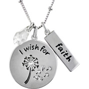 """Truly Inspired Crystal Fine Silver-Tone """"I Wish For Faith"""" Pendant, 46cm + 5.1cm Extender"""