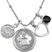 Truly Inspired Crystal Fine Silver-Tone Paw Print and Heart Pendant, 46cm + 5.1cm Extender