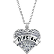 """Truly Inspired Clear Crystal Silver-Tone """"Blessed"""" Heart Pendant , 46cm Chain"""
