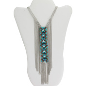 Turquoise Seed Bead Silver-Tone Fringe Necklace, 80cm
