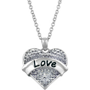 """Truly Inspired Clear Crystal Silver-Tone """"Love"""" Heart Pendant , 46cm Chain"""