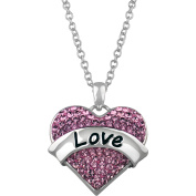 """Truly Inspired Pink Crystal Silver-Tone """"Love"""" Heart Pendant , 46cm Chain"""