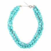 Riah Fashion Stabilised Turquoise Layer Rhodonite Necklace