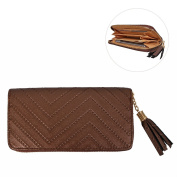 Women Wallet Purse HuaForCity Elegant PU Zipper Handbag with Card Slots and Tassel Phone Pouch Pocket for Girl Phone Holder for 14cm Phone Brown