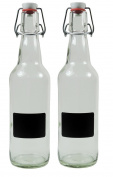 Viva Haushaltswaren 2 x 500 ml empty glass bottle with clear glass swing top Porcelain To Fill Yourself With 2 Labels 22 x 8.3 x 8 cm 2 Units