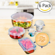 Silicone Stretch Lids, 6 Pack Eco Reusable Food Wrap Container BPA Free Expandable Bowl Seal Cover Storage For Microwave and Freezer to Keep Food Fresh