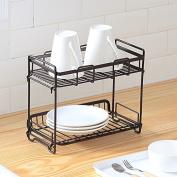 Wrought iron racks double floor storage rack kitchen / bathroom storage rack