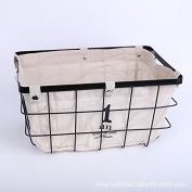 Simple with canvas wrought iron storage basket desktop fruit snack storage box fruit basket storage baskets
