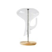 yontree Decanter Dryer Stand Detachable Iron with Wooden Base