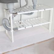 WENZHE Kitchen Storage Rack Spice Cooker Shelf Under The Sink Adjustable Flower Stand Multifunction, 38-70cm Long