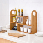 WENZHE Kitchen Storage Rack Spice Cooker Shelf Adjustable Can Be Freely Combined Bamboo, 42 * 15 * 45cm