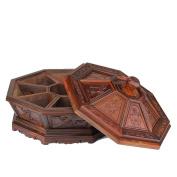 HZZymj-2pcsRed rosewood mahogany living room home dried fruit box Chinese wooden snack box with grid cover , B