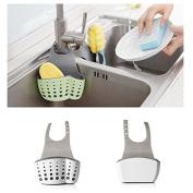 Kitchen Sink Caddy Adjustable Sponge Scrubber Soap Holder Drain Basket Organiser