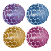 4 PCS Squishy Mesh Stress Balls Anti-Stress Decompression Release Toy for Children Adults Squishy Squeeze Relieves Stress Anxiety Rubber Sensory Ball Toys Gift