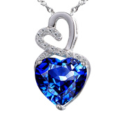 Devuggo Infinity 4.0 Carat TCW Heart Cut Gemstone Created Blue Sapphire 925 Sterling Silver Necklace Pendant with free 46cm Chain