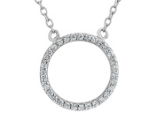 Created Synthetic White Topaz Circle Pendant Necklace in Sterling Silver with Chain