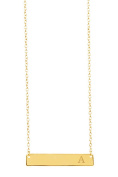 14K Gold Bar Initial Necklace in Sterling Silver Initial A