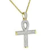 Ankh Cross Pendant 14K Yellow Gold Finish Lab Created Cubic Zirconias Symbol Of Life Stainless Steel Necklace