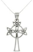 Jewellery Trends Sterling Silver Triple Trinity Knot Celtic Cross Necklace