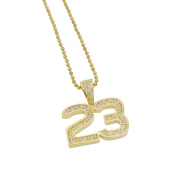 Mens 3.2cm 14k Gold Plated Iced Out Lab Diamonds (CZ) Jordan 23 Pendant with Chain