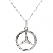Sterling Silver Mercedes Benz Symbol Pendant Necklace, 46cm