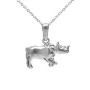 Sterling Silver Rhinoceros Pendant Necklace, 46cm