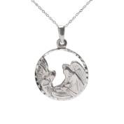 Sterling Silver Nativity Scene Baby Jesus Baptism Medallion Pendant Necklace, 46cm