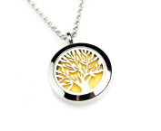 Essential Oil Diffuser Aromatherapy Necklace Stainless Steel Tree of Life locket with multi-colour interchangeable aroma-pads by Izzybell Jewellery