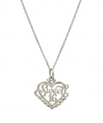 Sterling Silver Sweet 16 Heart Pendant Necklace, 46cm