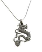 Stainless Steel 3D Dragon Keepsake Memorial Vial Pendant W/ Necklace
