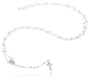 Real 925 Sterling Silver 3mm 24 Inch Beaded Rosary Necklace with Dangling Cross