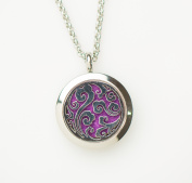 Essential Oil Diffuser Aromatherapy Necklace Stainless Steel Wave locket with multi-colour interchangeable aroma-pads by Izzybell Jewellery