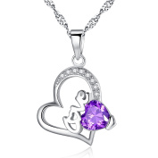 Devuggo Love 1.54 Carat TCW Heart Created Amethyst 925 Sterling Silver Necklace Pendant with free 46cm Chain