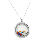 EDFORCE Stainless Steel Silver-Tone Floating Charms Kids Glass Locket Pendant Necklace