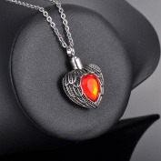 July Scarlet Heart Cremation Jewellery Keepsake Memorial Urn Necklace Ash Holder