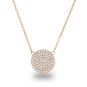 "14k Rose Gold-Plated Sterling Silver Cubic Zirconia Pave Disc Circle Chain Necklace,18"" Diameter:12mm"