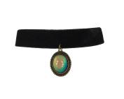 Zad Jewellery Velvet Choker with Mood Stone Pendant, Black