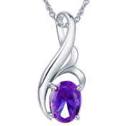 Devuggo 0.75 Carat TCW Oval Cut Gemstone Created Amethyst 925 Sterling Silver Necklace Pendant with free 46cm Chain