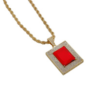 Gold-Plated Iced Out Hip Hop Bling Large Created Ruby Square Pendant and Rope Chain 60cm