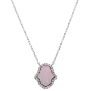 Sterling Silver Lab Created Pink Opal Hamsa Pendant Necklace-White Opal-Sterling silver