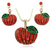 cocojewelry Fall Pumpkin Pendant Necklace Dangle Earrings Set Halloween Thanksgiving Jewellery