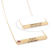 Women's Horizontal Bar Birthstone Necklace - Gold Plated Brass - July