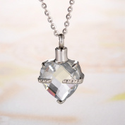 Crystal April Birthstone Heart Cremation Jewellery Keepsake Memorial Urn Necklace