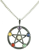 Natural Gemstone Pentagram Pentacle Chakra Necklace with Adjustable Chain