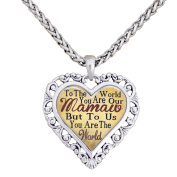 Mamaw You Are The World To Us Silver Chain Necklace Heart Jewellery