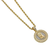 Gold-Plated Iced Out Hip Hop Bling Cuban Link Style Jesus Round Pendant and Rope Chain 60cm