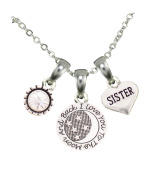 Sister Love You To The Moon Silver Chain Necklace And Charms Jewellery