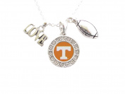 Tennessee Volunteers Multi Charm Silver And Orange Charm Necklace Jewellery UT.