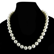 "Cream White 10mm Simulated Faux Pearl Necklace Hand Knotted Strand 18"" Inch P..."